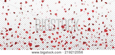 Red flying heart confetti Valentines day background. Design element for romantic love greeting card Women's Day postcard wedding invitation. Vector texture.