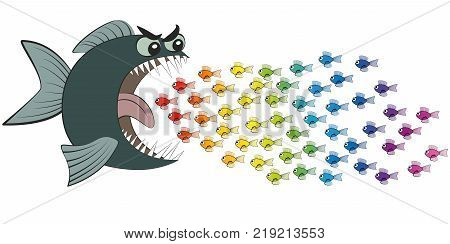 Big fish eating many colorful little fish, imprudent and careless as if in hypnotic trance - symbolic for gullible, naive, thoughtless, credulous or deluded, misled and deceived people - comic. poster