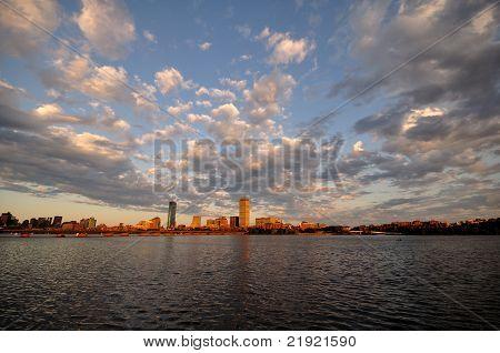 Boston skyline on a cloudy day
