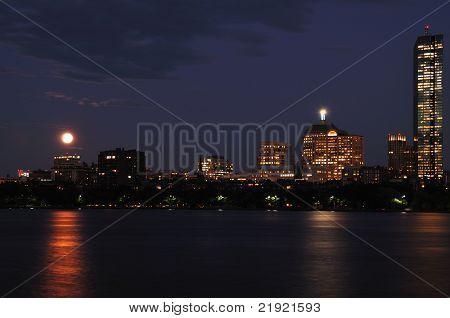Boston Night Sky With Full Moon