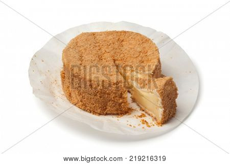Calvados Camembert cheese on white background
