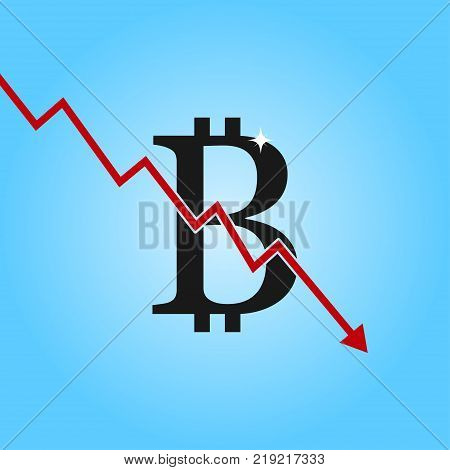 Bitcoin drop graph. Bitcoin sign with arrow down. Concept of cryptocurrency lesion and fall of. Vector illustration.