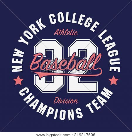 New York, Baseball typography for number t-shirt. Original sportswear print. Athletic apparel typography. Graphic for design sports clothes. Vector illustration.