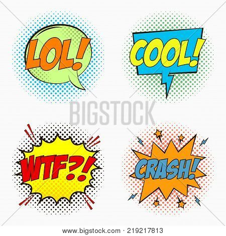 Comic speech bubbles with emotions - LOL. COOL. WTF. And CRASH. Cartoon sketch of dialog effects in pop art style on dots halftone background. Vector illustration.