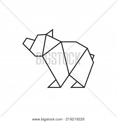 Origami Bear Geometric Line Shape For Art Of Folded Paper Logo Template Vector