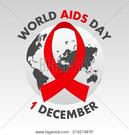 World AIDS Day poster. Aids Awareness. 1st December banner with globe map and ribbon. Vector illustration.