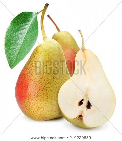Two pears with pear leaf. Isolated on a white background.