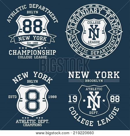 Set of New York, NY vintage graphic for t-shirt. Collection of original clothes design with shield and number. Apparel typography. Sportswear print. Vector illustration.