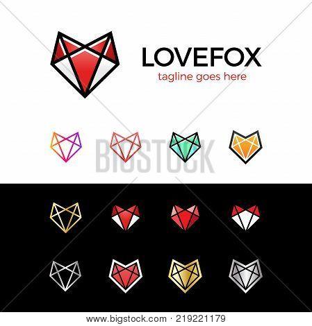 Love Fox Head Logo Line Fox. Heart Logotype Set