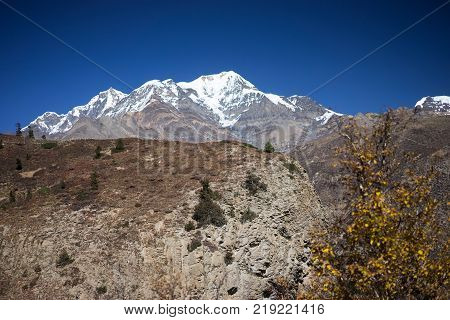 Pisang Peak in the Himalaya mountains, Annapurna region, Nepal poster