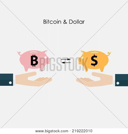 Businessman hand and piggy symbol.Dollar and Bitcoins exchange concept.Digital virtual electronic coins bitcoins concept.Capital investment sign.Bitcoin transaction.Vector concept people investing in bitcoin.Vector illustration