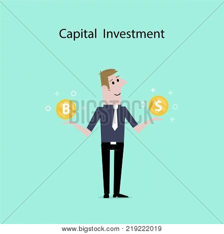 Businessman with US dollar and bitcoin sign.Dollar and Bitcoins exchange concept.Digital virtual electronic coins bitcoins concept.Capital investment sign.Bitcoin transaction.Vector illustration.
