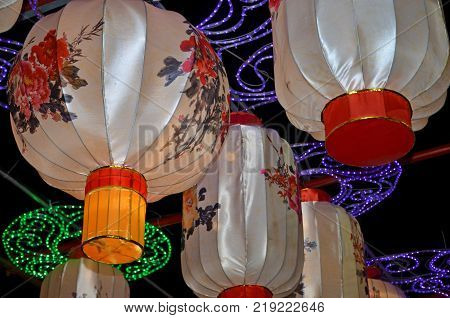 LITTLE ROCK, AR - December 16, 2017 Floral Chinese lanterns hang from a lit arch at the Arkansas Chinese Lantern Festive.