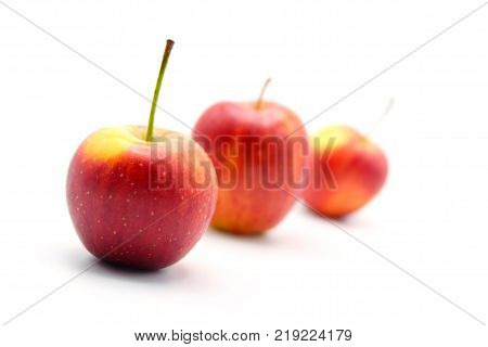 Three apple on white background. Apple is a healthy food. Apple background.