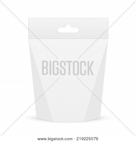 White cardboard carry box bag packaging for food, gift or other products with handle. Vector mock up template ready for your design.