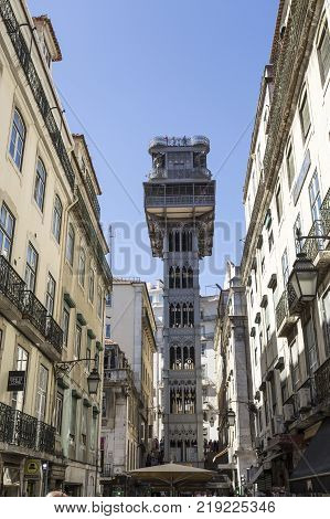 LISBON, PORTUGAL - September 25, 2017: Santa Justa Lift also called Carmo Lift is an elevator opened in 1901 and connecting the streets of Baixa with the higher Carmo Square in Lisbon Portugal