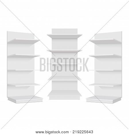 Blank empty showcase display with retail shelves. Front left and right view. Vector mock up template ready for your design.
