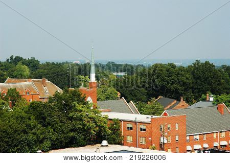 Church and old brick building in Raleigh North Carolina