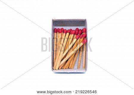 Matches in matchbox isolated on white background.