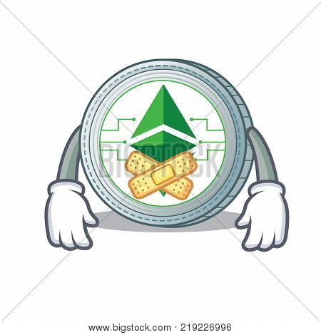 Silent Ethereum classic character cartoon vector illustration