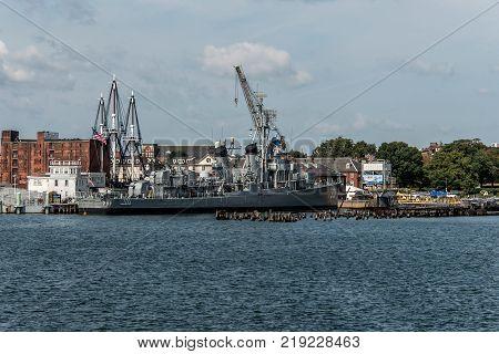 Boston massachusetty USA 06.09.2017 - USS Cassin Young Fletcher class destroyer National Historic Landmark