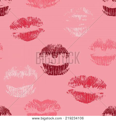 Lipstick kisses seamless pattern. Red lips prints. Romantic background. Vector illustration