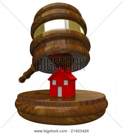 A red illustrated 3D house on a wood block about to be smashed by a gavel, symbolizing the auctioning or foreclosure of a house and losing a home due to bankruptcy