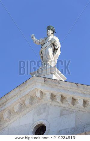 16th-century Benedictine San Giorgio Maggiore church statue on the top Venice Italy.It is located on San Giorgio one of the islands of Venice