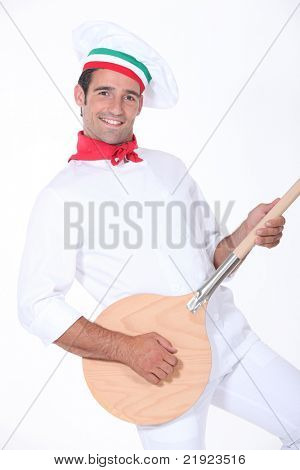 pizza cook playing guitar with a spade