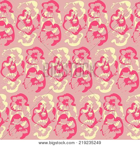 Pattern with abstract pink and yellow flowers silhouettes. Tender floral texture in pale rose colors for textile, bedclothing, wrapping paper, wallpaper, background