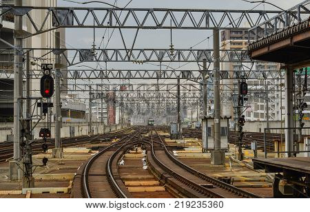 Hokkaido Japan - Oct 2 2017. Rail tracks at Sapporo Station in Hokkaido Japan. Hokkaido is the second largest island of Japan and the northernmost prefecture.