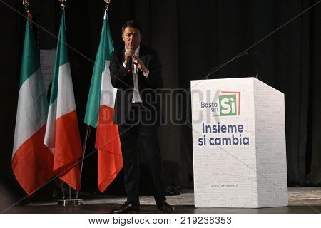 SIRACUSA, ITALY - NOVEMBER 15, 2016: The former italian premier Matteo Renzi at the convention held in Siracusa, 15th November 2016, Vasquez Theater, for the referendum campaign.