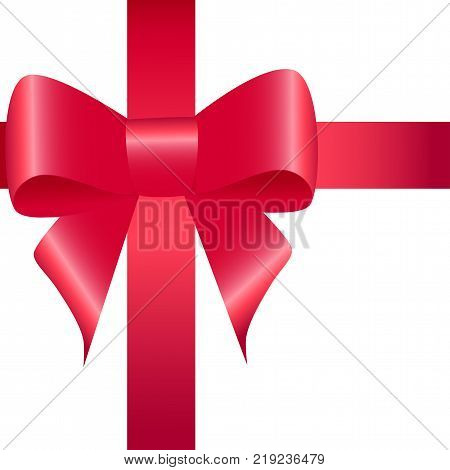 Red ribbon with bow isolated. Pussy bright bowknot. Single gift knot of ribbon in flat style design. Overwhelming bow decorative element. Vector cartoon illustration of bow and ribbon. Classical bow