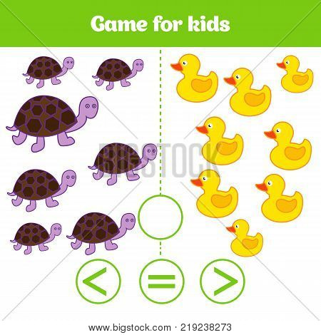 Education logic game for preschool kids. Choose the correct answer. More less or equal Vector illustration. Animal pictures for kids.