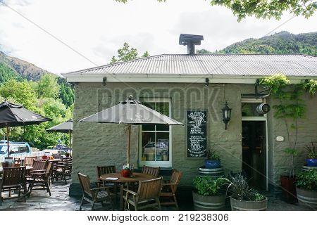 Arrowtown / New Zealand - 1 November 2017: vintage design coffee shop in small village