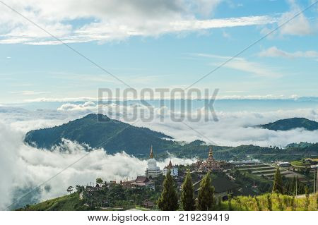 Phetchabun Province Thailand - September 3 2017: Top view to see mountain and Wat Pha Sorn Kaew Temple or Wat Phra Thart Pha Kaew Temple in Khao Kho Thailand. view of mountain blue sky and cloudy.