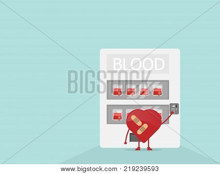 illustrator of cartoon heart buy blood from vending machine concept for donate blood to help and save life vector background