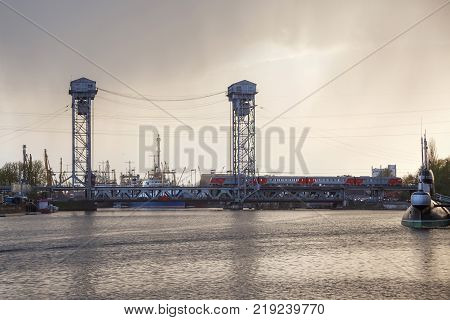 KALININGRAD, RUSSIA - APRIL 25, 2016: Double-deck drawbridge over the Pregolya River in Kaliningrad (Konigsberg) Russia. The bridge was built in the 1913-1926 and was reconstructed in 1959-1965.