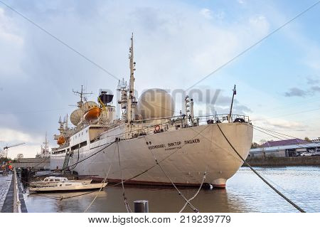 KALININGRAD, RUSSIA - APRIL 25, 2016: Research vessel of space communication