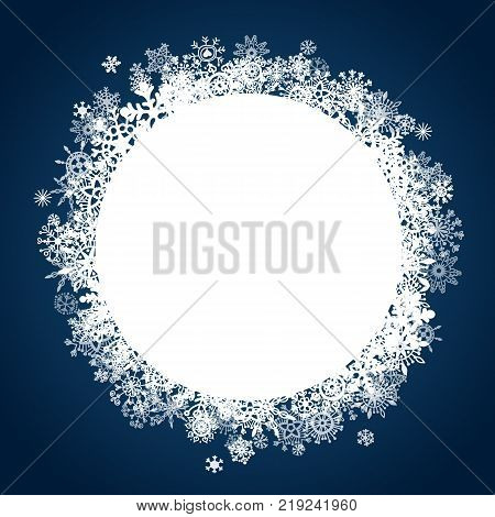 Christmas label with blue background and snowflakes. Can be used for prints, posters, emails, price tags and others.