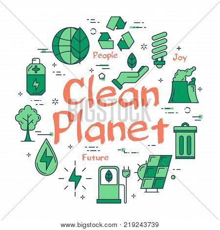 Vector linear green round concept of Clean Planet. Line icons of ecology, alternative sources of nutrition, green spaces and clean water