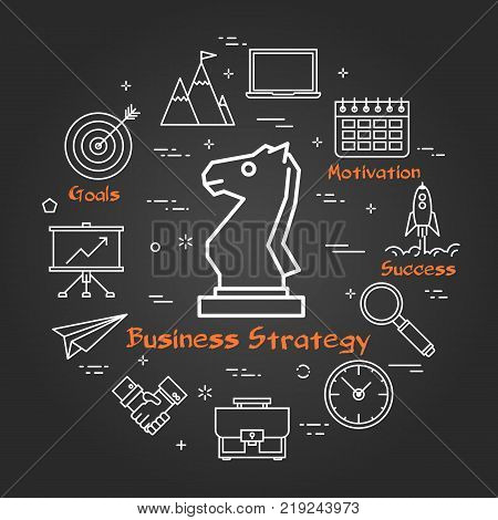 Vector linear round concept of Business Strategy. Thin line icons of chess knight, business planning and succesful technologies. Modern web banner on on black chalk board