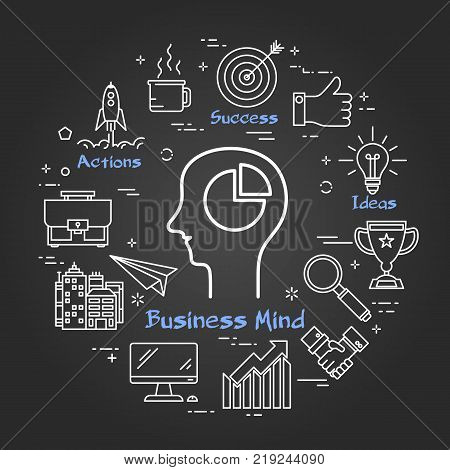 Vector linear round concept of Business Mind - man head with gear wheels. Thin line icons of Business Mind, Success Idea and Brainstorming of teamwork. Modern web banner on on black chalk board