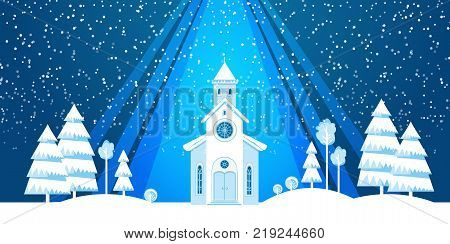 The church and Christmas tree cut from white paper on blue background. Template for Christmas postcard, invitation, poster.