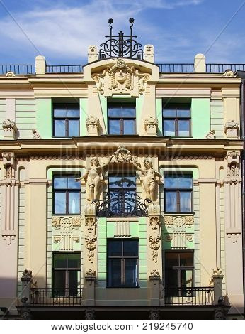 Detail facade of the building in Riga in style Art Nouveau. Latvia
