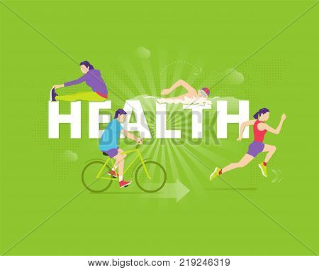 Visual metaphor of sport, fitness and healthy lifestyle. Men and women faceless characters in action around word 'HEALTH'. Vector illustration isolated on green background