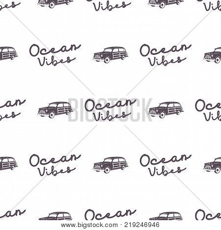 Surfing old style car pattern design. Summer seamless wallpaper with surfer van, ocean vibes typography sign. Monochrome combi car. . For fabric printing, web projects, t-shirts or tee designs