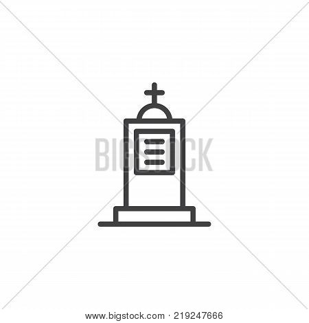 Cemetery line icon, outline vector sign, linear style pictogram isolated on white. Grave symbol, logo illustration. Editable stroke