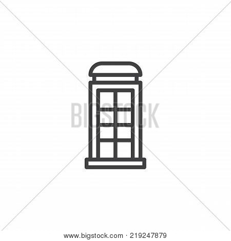 Telephone box line icon, outline vector sign, linear style pictogram isolated on white. Payphone booth symbol, logo illustration. Editable stroke