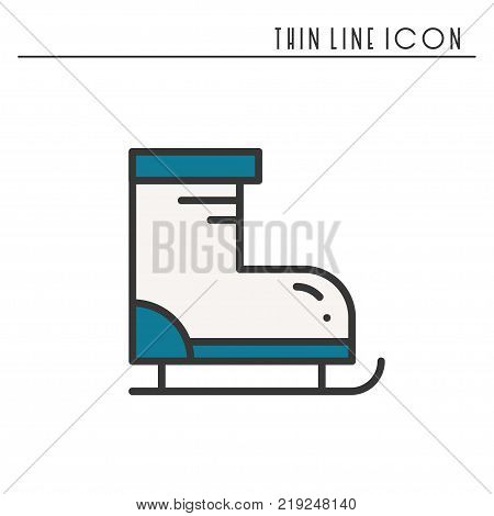 Figure skates thin line icon. Outline sport decorated pictogram. Winter element. Vector simple flat linear ice skates design. Logo illustration. Figure skating symbol